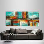 Large Modern Art Oil Painting on Canvas - Modern Wall Art Color Illusion - LargeModernArt