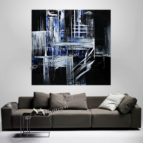 Black White Art Original Modern Painting - Crystal Palace - LargeModernArt