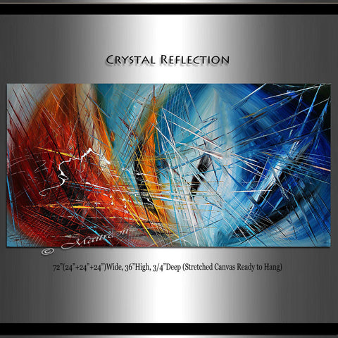 "Abstract painting Red Blue 72"", Wall Art Home Decor - Crystal Reflections"