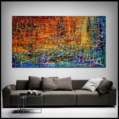 Multicolored Abstract Painting Jackson Pollock Style Art - Embracing Fire - LargeModernArt