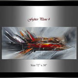 Large Modern Art Oil Painting on Canvas - Modern Abstract Wall Art Fighter Plane 4 - LargeModernArt