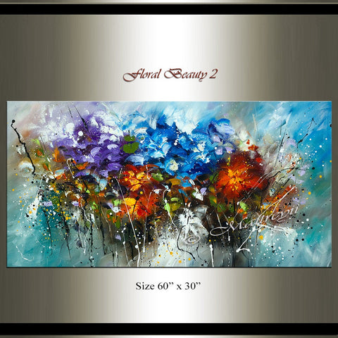 Flowers Modern Art Oil Painting For Sale - Floral Beauty 2 - LargeModernArt