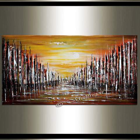 Modern Wall Art Seascape - Golden City - LargeModernArt