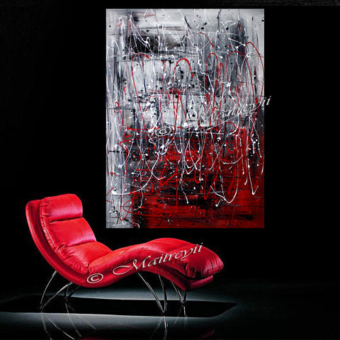 Red Painting Abstract Large Wall Art - Ice vs Fire - LargeModernArt