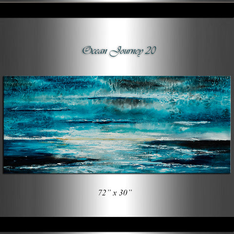 Large Ocean Art Oil Painting on Canvas Modern Wall Art Seascape - Ocean Journey 20 - LargeModernArt
