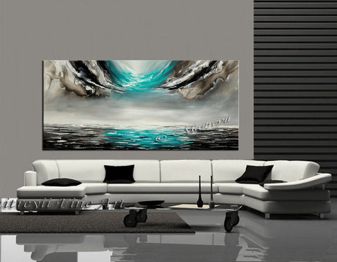 Large Ocean Art Teal Turquoise Paintings - Modern Wall Art - Ocean Paradise 40 - LargeModernArt