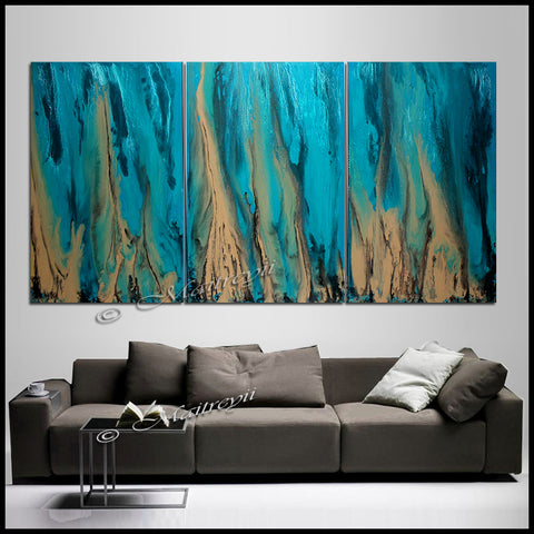 Teal Ocean Paintings Abstract art Ocean Beach Decor Turquoise Large Painting Wall Art- Ocean Beauty  88 - LargeModernArt