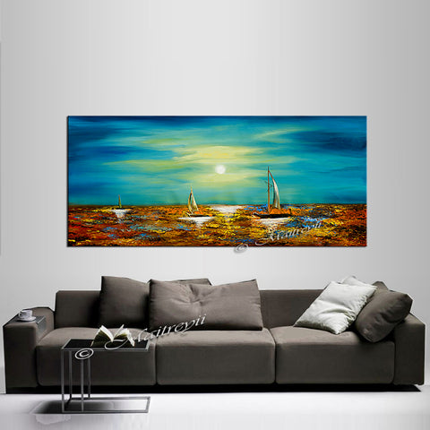 Large Ocean Art Oil Painting on Canvas Modern Wall Art Seascape - Ocean Journey 2 - LargeModernArt