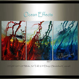 Red Ocean Paintings Abstract art Ocean Decor Large Painting Wall Art- Ocean effect - LargeModernArt