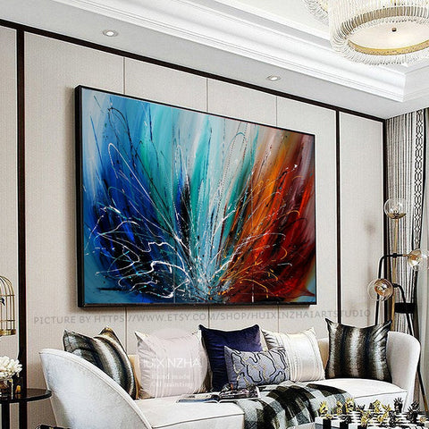 Abstract Wall Art Oil Painting Large Canvas For Luxury Home Decor Original Art For Sale - LargeModernArt