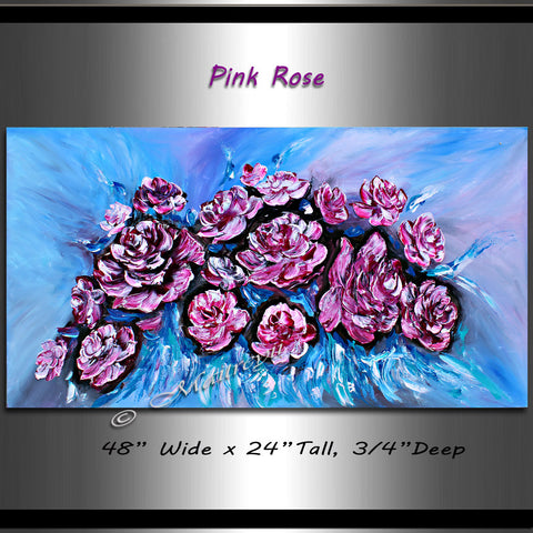 Flowers Painting - Pink Rose - LargeModernArt