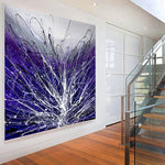 Purple Art Jackson Pollock Style Canvas Painting Large Modern Wall Decor Beautiful Abstract Art For Sale - LargeModernArt