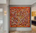 Red Painting Jackson Pollock Style Large art Vintage Style - Modern Wall Art - Red Vintage - LargeModernArt