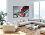 Large Abstract Paintings Red Modern Original Contemporary Art For Sale Oversize Luxury Style Handmade - LargeModernArt