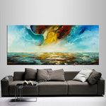 Abstract Modern Art Oil Painting on Canvas Modern Wall Art Mystic Texture Painting - Seascape 33 - LargeModernArt