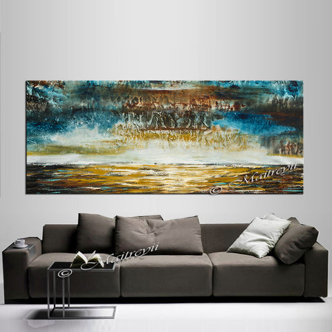 Large Ocean Art Oil Painting on Canvas Modern Wall Art Seascape - Ocean Journey 23 - LargeModernArt