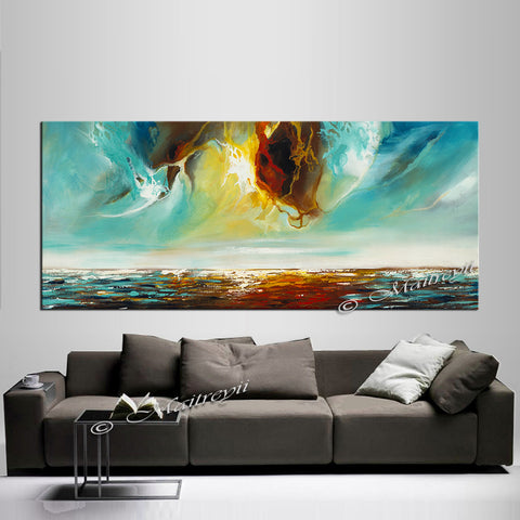 Large Ocean Art Oil Painting on Canvas Modern Wall Art - Seascape Painting 6 - LargeModernArt