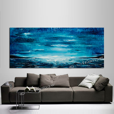 Large Ocean Art Oil Painting on Canvas Modern Wall Art Seascape - Ocean Journey 22 - LargeModernArt