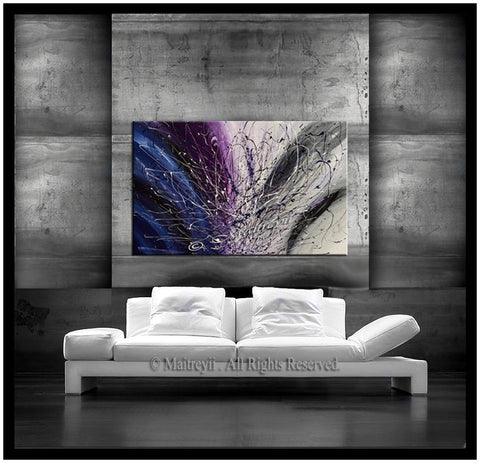 Purple Jackson Pollock art Vintage Style artwork large Oil Painting on Canvas - Luxury Modern Wall Art | Sparkling Beauty 3 - LargeModernArt
