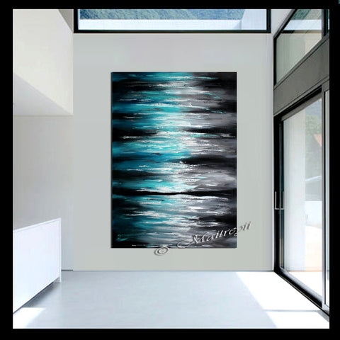Large Ocean Modern Wall Art Seascape Painting - Teal Ocean - LargeModernArt