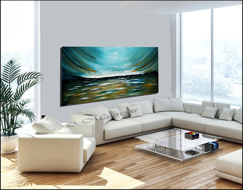 Teal Morning Modern Abstract Art on Canvas Wall Art Original Paintings For Sale - LargeModernArt
