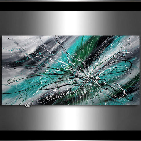 Painting Jackson Pollock Multiple Size Drip Style Abstract art on Canvas, large Wall Art - Turquoise Beauty - LargeModernArt