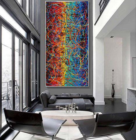 Jackson Pollock Style | Abstract artwork large oil painting on canvas oversize luxury Homes - Vintage Beauty 15 - LargeModernArt