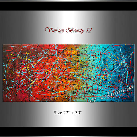 Abstract Modern art Original Paintings Jackson Pollock style - Vintage Beauty 12 - LargeModernArt