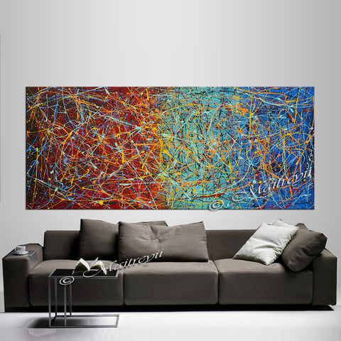 Jackson Pollock Style | Abstract artwork large oil painting on canvas modern wall - Vintage Beauty 25 - LargeModernArt