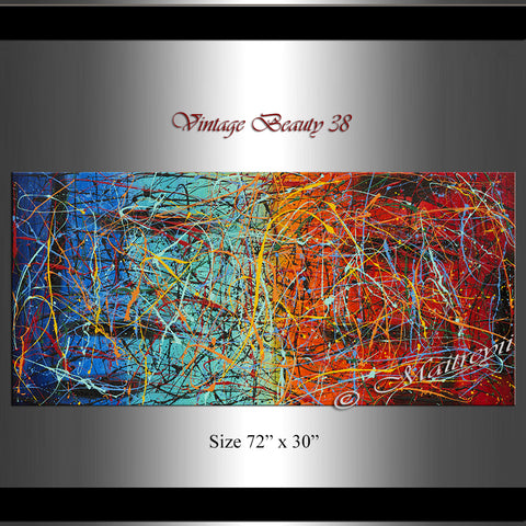 Jackson Pollock Style | Abstract artwork large oil painting on canvas modern wall art - Vintage Beauty 38 - LargeModernArt