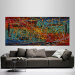 Jackson Pollock Style | Abstract artwork large oil painting on canvas modern wall art - Vintage Beauty 42 - LargeModernArt