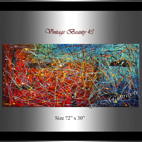 Jackson Pollock Style | Abstract artwork large oil painting on canvas modern wall art - Vintage Beauty 43 - LargeModernArt