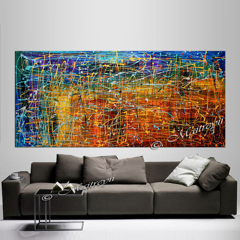 Jackson Pollock Style | Abstract artwork large oil painting on canvas modern wall art - Vintage Beauty 50 - LargeModernArt