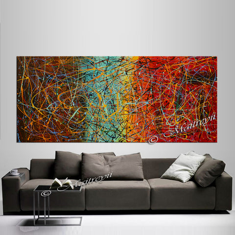 Jackson Pollock Style | Abstract artwork large oil painting on canvas modern wall art - Vintage Beauty 53 - LargeModernArt