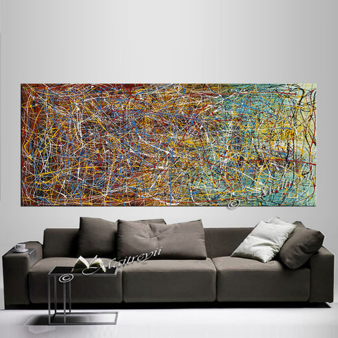 Jackson Pollock Style | Abstract artwork large oil painting oversize luxury Homes - Vintage Beauty 6 - LargeModernArt