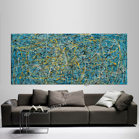 Jackson Pollock Style | Abstract artwork large oil painting on canvas modern wall art - Vintage Beauty 74 - LargeModernArt