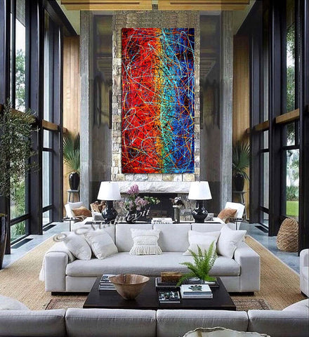 Painting Abstract Art Jackson Pollock Style large Wall Art - Vintage Glory 10 - LargeModernArt