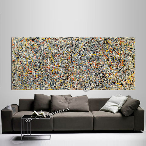 Abstract Angel Paintings | Jackson Pollock Style | Large Modern Art - Vintage Beauty 102 - LargeModernArt