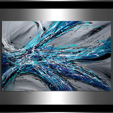 Large Abstract Blue Painting  - Winter Blossom - LargeModernArt