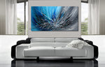 Abstract Art Blue Wall Art Large Painting on Canvas Modern Home Decor  - Winter Blossom - LargeModernArt