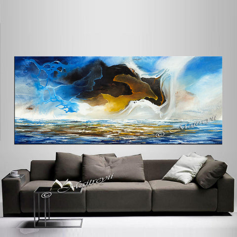 Large Ocean Art Oil Painting on Canvas Modern Wall Art Seascape Painting -Seascape 27 - LargeModernArt