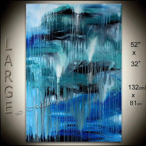 Luxury Modern Home Decor - Blue Waterfall - LargeModernArt