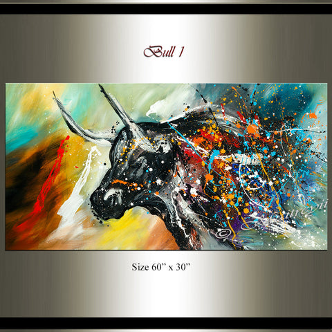 Bull Painting Jackson Pollock style, LARGE ABSTRACT PAINTING - LargeModernArt