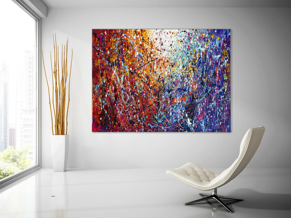 Oil Painting metal wall art Original art large Jackson Pollock Style Painting.large wall art .62 Modern abstract contemporary wall art