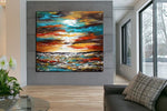 Large Ocean Art Oil Painting on Canvas Modern Wall Art Seascape Painting - Amazing Ocean - LargeModernArt