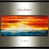 Large Ocean Art Oil Painting on Canvas Modern Wall Art Seascape - Ocean Journey 10 - LargeModernArt