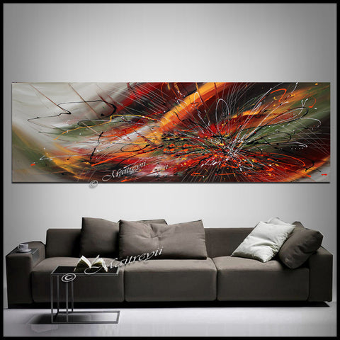 "Abstract painting on Canvas Red Blue 72"", Wall Art Home Decor - Fall Begins - LargeModernArt"