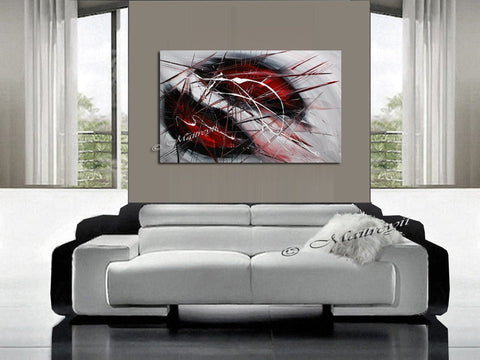 Red Wall Art Oil Painting On Canvas, Extremely Modern Style Interior Decor - LargeModernArt