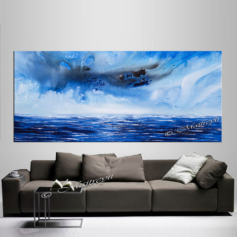 Abstract Modern Art Oil Painting on Canvas Modern Wall Art Mystic Texture Painting - Seascape 13 - LargeModernArt