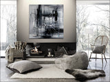 Original Abstract Art For Sale - Shades of Black - LargeModernArt